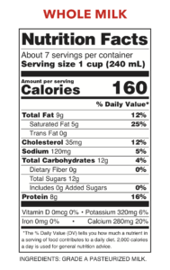 Hart Dairy Whole Milk Nutritional Facts